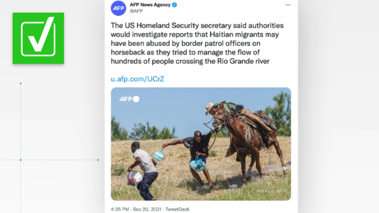 VERIFY: Yes, the photo of a Border Patrol agent on horseback grabbing a man's shirt is real