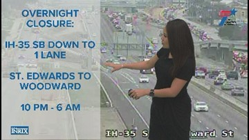 Drivers can expect closures on Interstate 35 in South Austin overnight