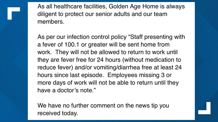 Statement from Golden Age Home