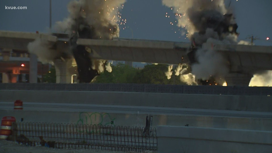Northbound I-35 to northbound U.S. 183 flyover imploded