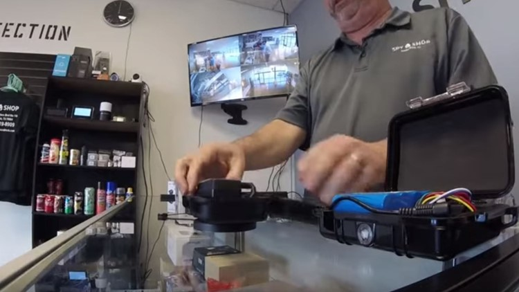 Jamie Martin, the co owner of the Spy Shop in Round Rock and a licensed private investigator, shows a device very similar to the one a Pflugerville man found.