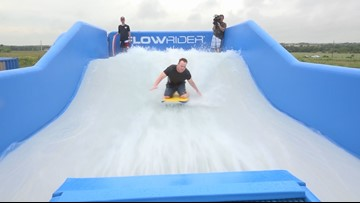 Team Daybreak takes major wipeout on 'PFlowrider' surf simulator at Typhoon Texas
