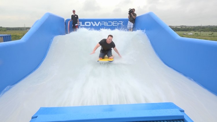 Team Daybreak takes major wipeout on 'PFlowrider' surf simulator at Typhoon Texas
