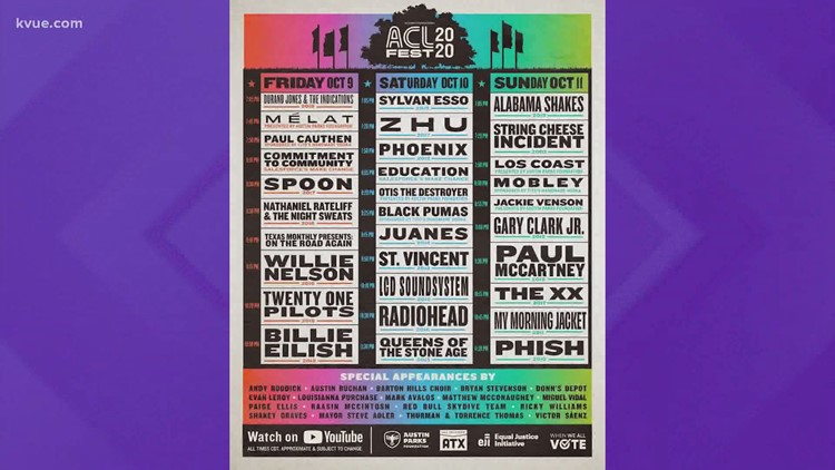 ACL Festival releases virtual 2020 schedule