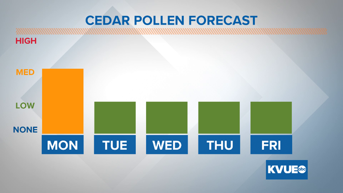 Cedar pollen expected to lower this week