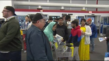 Shoppers get in line for Black Friday deals on Thanksgiving
