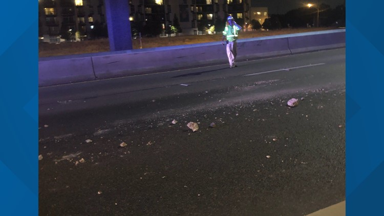 Debris on I-35 northbound lower deck caused by crash on upper deck hitting rail, TxDOT confirms