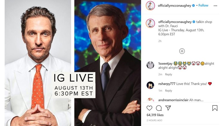 'Talkin shop with Dr. Fauci' | Matthew McConaughey to speak with nation's top disease expert on Instagram Live