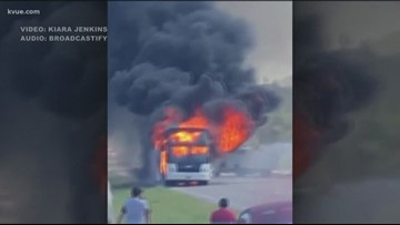 Charter bus carrying kids from summer camp catches fire in