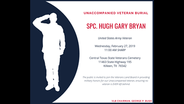 Unaccompanied veteran burial to be held at Central Texas State Veterans Cemetery