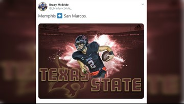 Texas State Bobcats add Memphis transfer, former Coppell HS QB Brady McBride