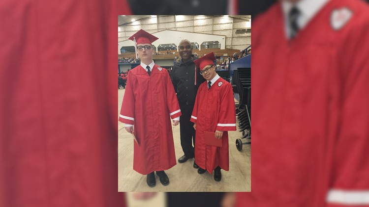 Thomas (left), Patrick (center) and Alex (right) at Manor High School graduation.