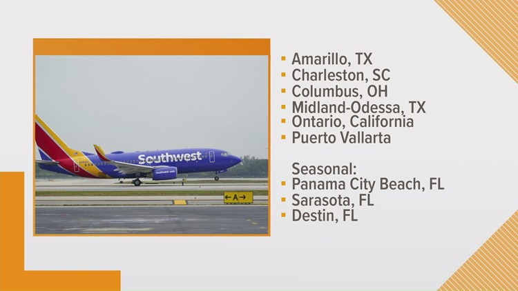 Southwest Airlines adds 9 new nonstop routes from Austin