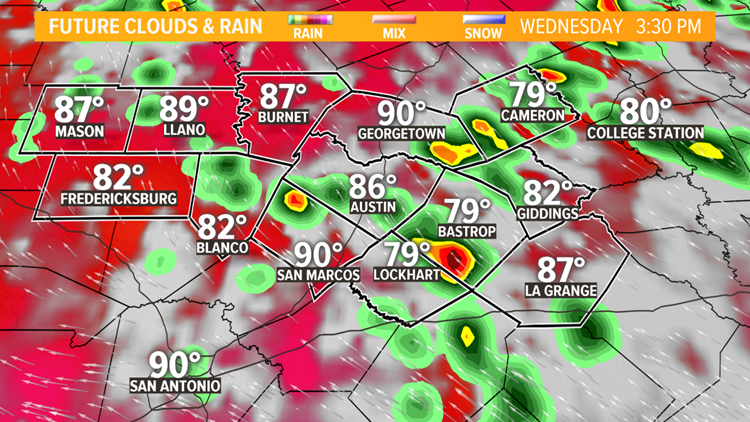 Rain chances on the rise for Wednesday afternoon