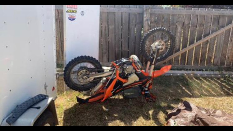 The dirt bike after it was taken out of the water.