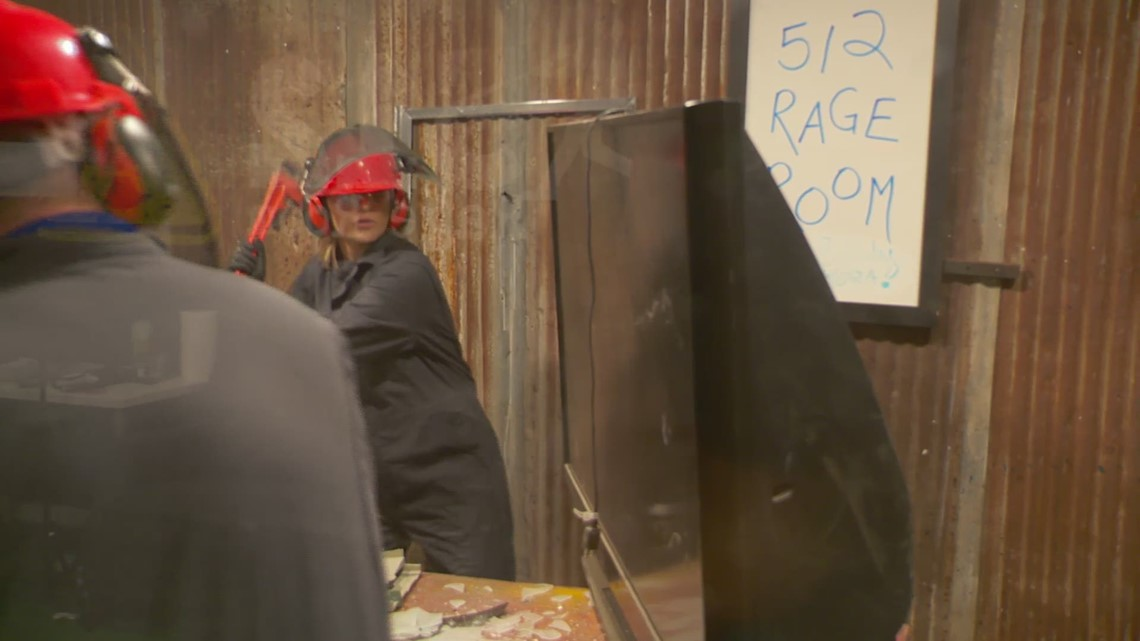 RAW: Letting out stress smashing glass at the Rage Room in Kyle