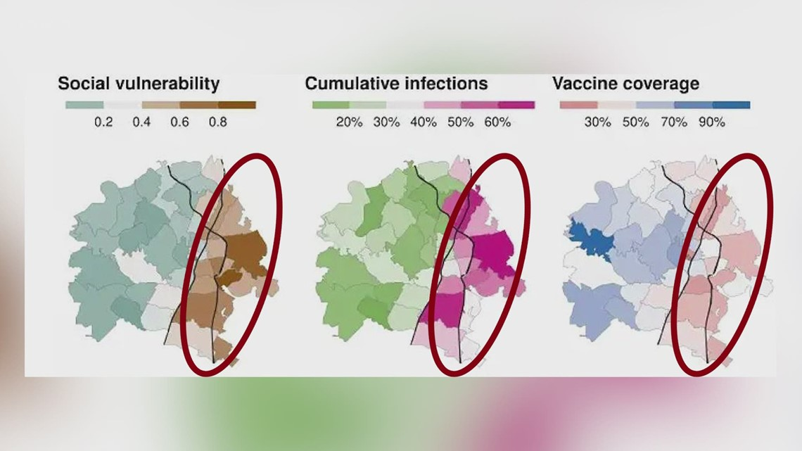 COVID-19 vaccine divide: Unequal access for East and West Austin