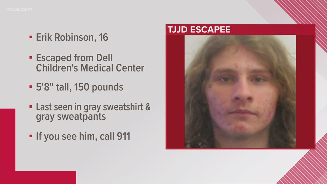 16-year-old escaped from custody while at Dell Children's