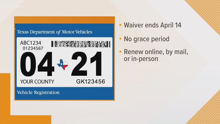 Texans have until April 14 to renew vehicle title and registration