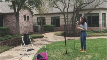 High school freshman no longer allowed in a nursing home to sing, sings from outside instead