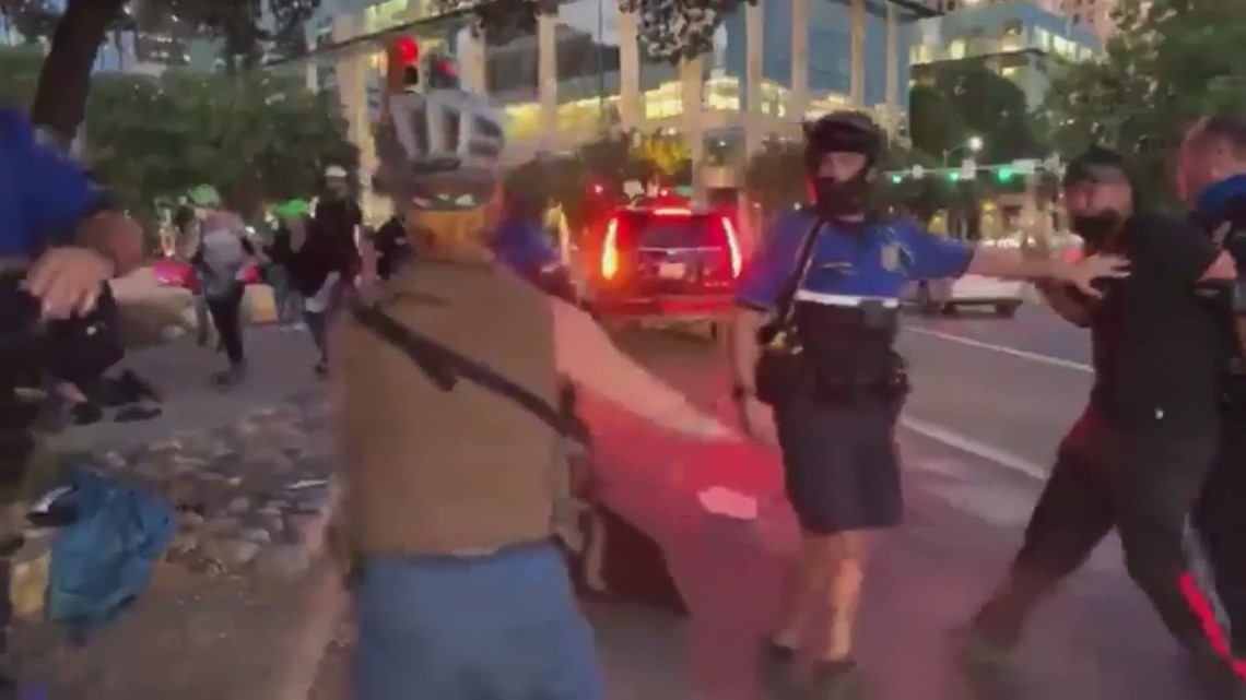 Video shows tense exchange between officers, protesters in Downtown Austin
