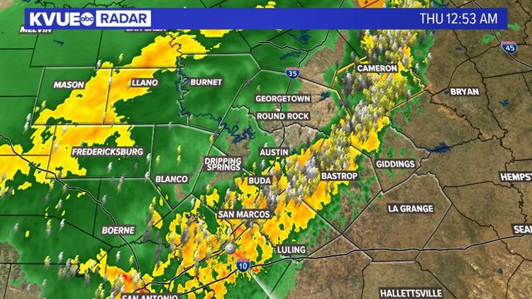 Storms moving through Central Texas