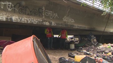 Austin Resource Recovery removes 30 tons of trash from homeless camp under U.S. 183