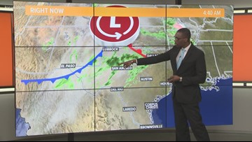 Cold front bringing scattered showers, isolated thunderstorms