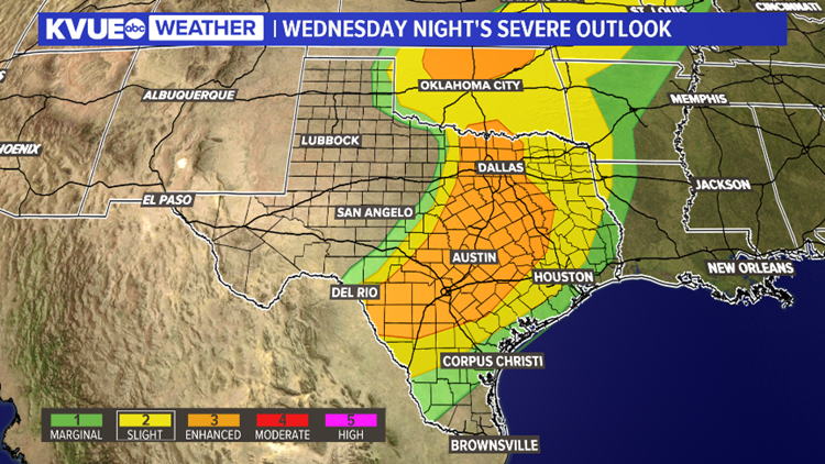 Severe storm threat Central Texas