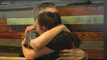 Posing as a waitress, daughter gives her Austin dad a special surprise