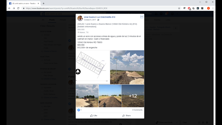 Facebook post showing land for sale
