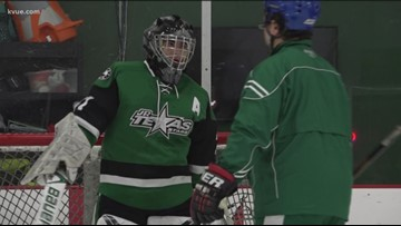 Austin hockey goaltender playing in honor of his hospitalized dad