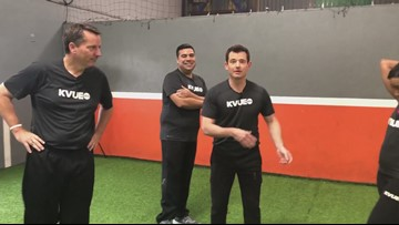 KVUE morning, night anchors compete in creative soccer