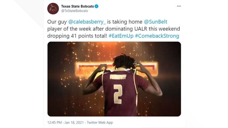 Texas State's Caleb Asberry awarded Sun Belt Player of the Week