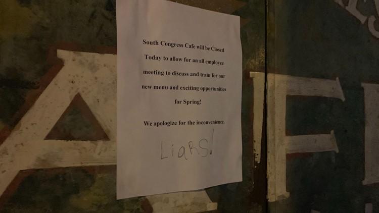 South Congress Cafe closed