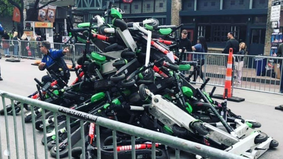 Scooters banned from areas of SXSW end up in leaning tower