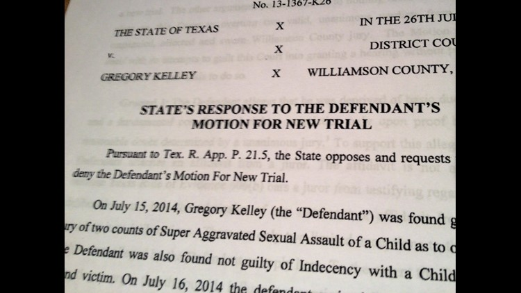 The Williamson County district attorney responds to Kelley's request for a new trial