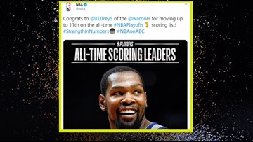 Longhorn for life, Kevin Durant is 11th all-time in NBA playoff scoring history