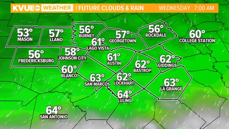 7 AM Wednesday Future Clouds & Rain
