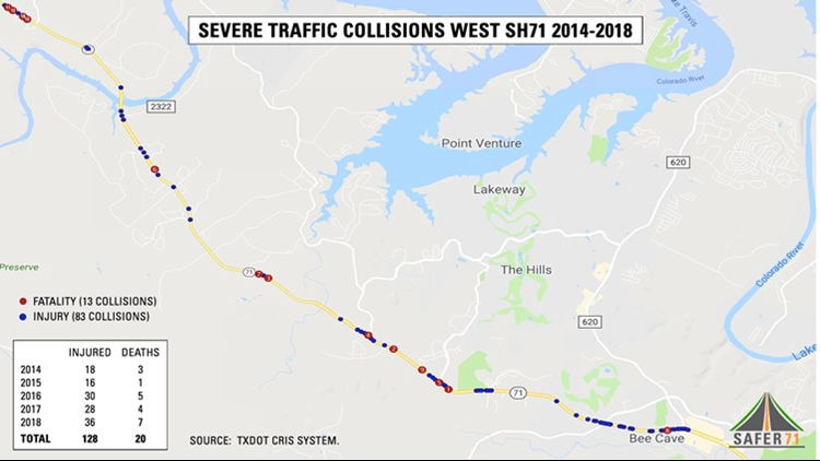 Traffic Collisions on West SH71