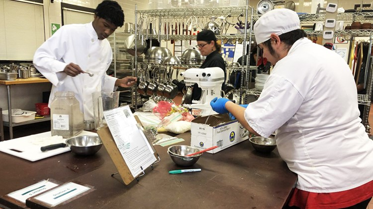 Special needs students learning culinary arts skills