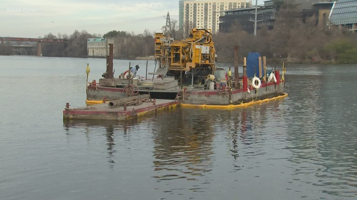 Drilling barge on Lady Bird Lake will help design Project Connect rail lines