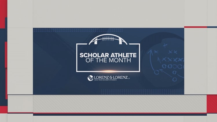 Scholar Athlete of Month graphic Friday Football Fever