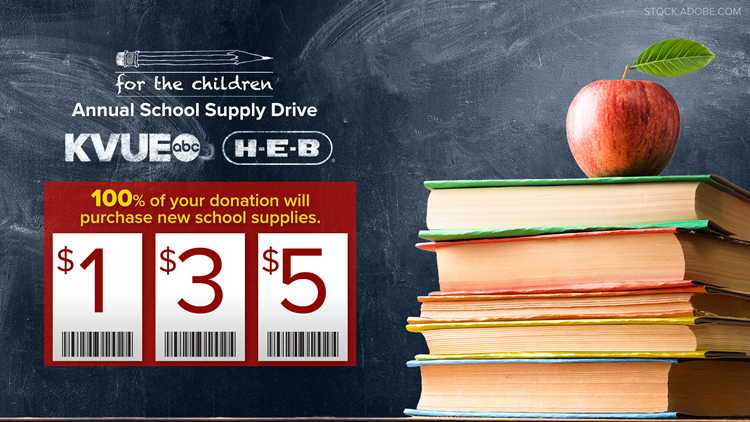 KVUE proud to sponsor H-E-B's 32nd annual 'For The Children' school supply drive
