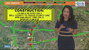 Work Zone: Closures expected on I-35 Service Road in Williamson Co.