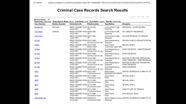Rodney Reed - Bastrop County Criminal Case History