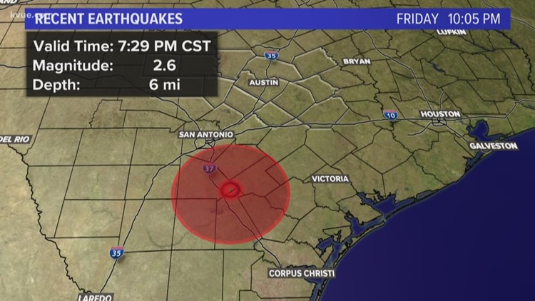 Magnitude 2.6 earthquake recorded south of San Antonio Friday evening