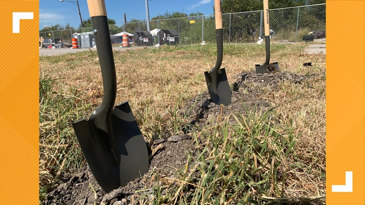 Officials, organizers break ground on transitional shelter complex at State homeless campsite in Austin