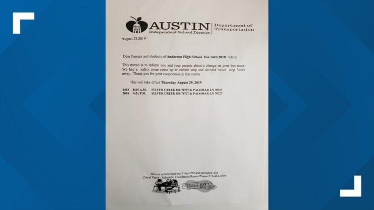 AISD Bus Stop Letter