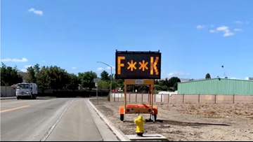 Traffic sign in California told drivers to 'Slow the F**k Down'